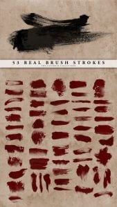 53 فرش سكتات دماغية دماء ملطخة Real Brush Strokes Set