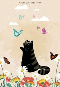 خلفيات فكتور قط أسود مع فراشات Animal background black cat butterflies icons decor Free vector