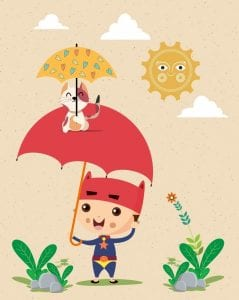 خلفيات فكتور خلفيات طفولة طفل وشمسية  Childhood background kid umbrella kitty icons stylized sun Free vector