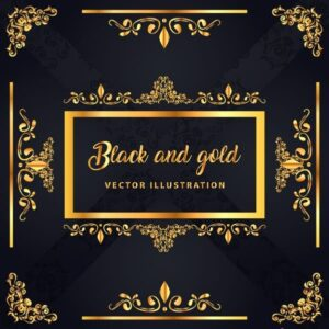 خلفيات فكتور كلاسيكيه لامعه Decorative background classical shiny black yellow symmetric design Free vector