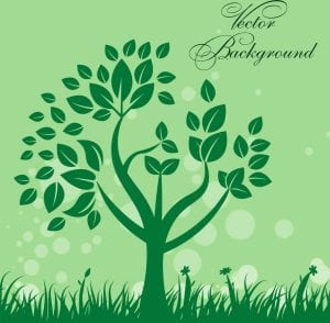 خلفيات فكتور شجره خضراء Natural background design green tree bokeh style Free vector