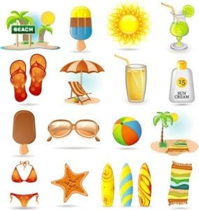 خلفيات فكتور عطلات صيفيه Summer holidays design elements various colored symbols design Free vector