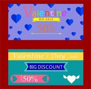 خلفيات فكتور تخفيضات قلوب Valentine sales tickets sets hearts and words design Free vector