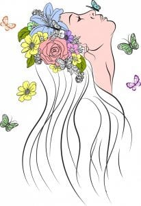 خحلفيات فكتور رسم امراة مزينة بورود Woman drawing colorful flowers butterflies decoration Free vector