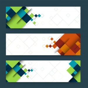 خلفيات فكتور لافتات رأس الملخص  Abstract header or banner set with geometric shapes. Free Vector