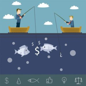خلفيات فكتور تسويق رجال الاعمال Businessman marketing illustration with businessmen competing in fishing Free vector