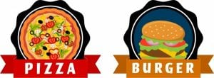 خلفيات فكتور طعام سريع بيتزا Fast food tags pizza burger icons ribbon ornament Free vector