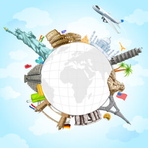 السفر فى جميع انحاء العالم Travel around the world creative vector Free vector