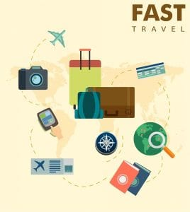 خلفيات فكتور توضيح مفهوم السفر Travel concepts illustration with personal tourism tools Free vector