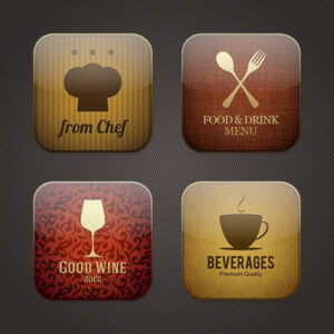 خلفيات فكتور تطبيقات طعام Vintage food applicaion icons vector Free vector