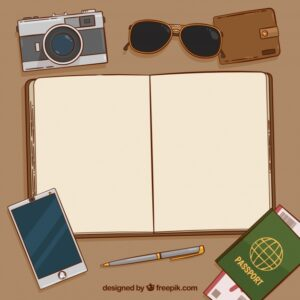 خلفيات فكتور خلفيه جواز سفر  Notebook background with passport and other elements and vintage travel Free Vector