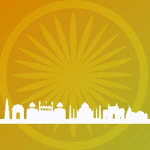 خلفيات فكتور خلفيه مبانى هنديه  Abstract indian background with building silhouettes Free Vector