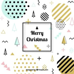 خلفيات فكتور عناصر عيد الميلاد  Christmas memphis background with golden elements Free Vector