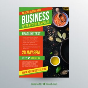 Business flyer template with photo of spices