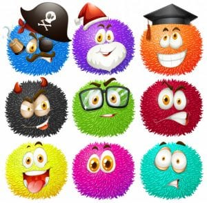 Colorful fluffy balls with faces Free Vector