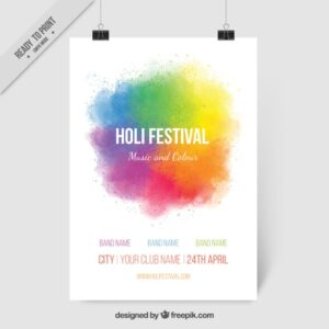 Colorful ink Holi festival poster Free Vector