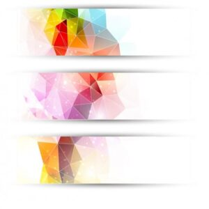 Colourful triangles headers Free Vector