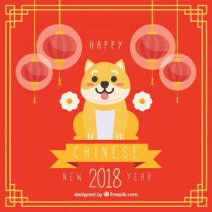 Flat chinese new year background with dog illustration Free Vector