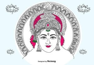 خلفيات فكتور رسم يدوى للالهه لاكشمى Hand Drawn Lakshmi Vector