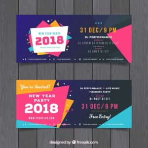 Set of colourful new year party banners Free Vector