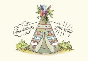 خلفيات فكتور Cute Tribal Tent With Flowers And Leaves