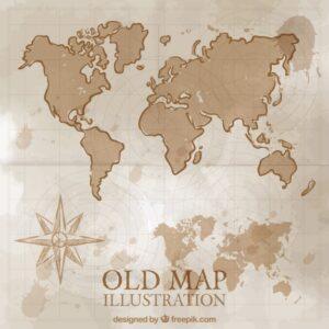 Hand drawn vintage world map Free Vector