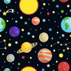 Space seamless pattern with planets stars comets and constellations on dark background vector illustration Free Vector
