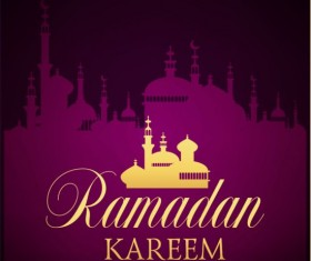 Ramadan kareem purple backgrounds vector set 11