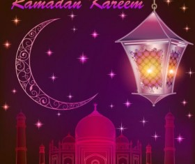 Ramadan kareem with moon background vector 02