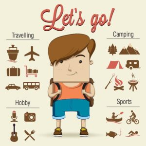 A child goes camping with fantastic accessories Free Vector