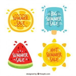 Background of summer stickers with watermelon and ice cream Free Vector