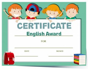 Certificate template with happy kids Free Vector
