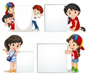 Children holding white sign Free Vector