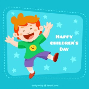 Funny boy illustration for chrildren's day Free Vector