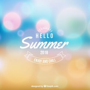 Hello summer background in blurred style Free Vector