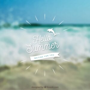 Hello summer with blurred background Free Vector