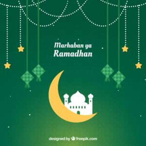 Ramadan background with mosque silhouette Free Vector