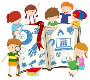 Science book and children illustration Free Vector