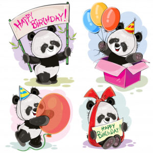 Set of cute baby panda bears with happy birthday banner, with bow and greeting card Free Vector