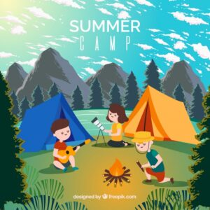 Summer camp background Free Vector