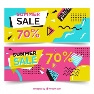 Summer sale banners in memphis style Free Vector