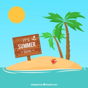 Summer wooden sign Free Vector