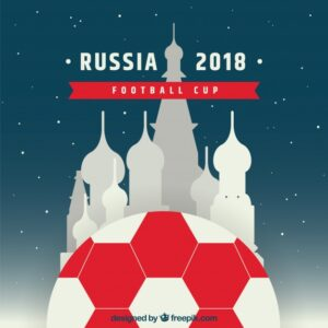 2018 football cup design with kremlin Free Vector