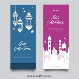 Blue and pink eid al fitr banner collection Free Vector