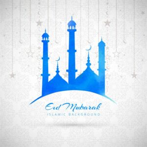 Blue eid mubarak background with mosque Free Vector