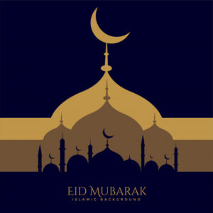 Creative eid festival greeting design Free Vector