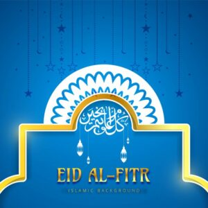 Eid al fitr blue background Free Vector