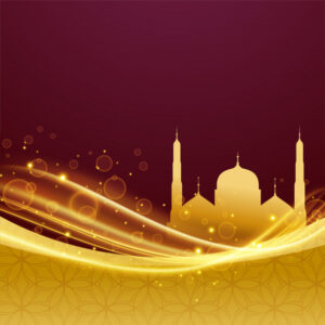 Eid and ramadan festival design with light effect Free Vector