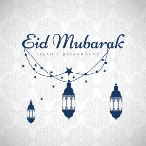 Eid mubarak background with blue lanterns Free Vector