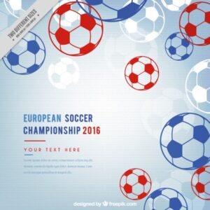 European soccer championship with hand drawn balls Free Vector